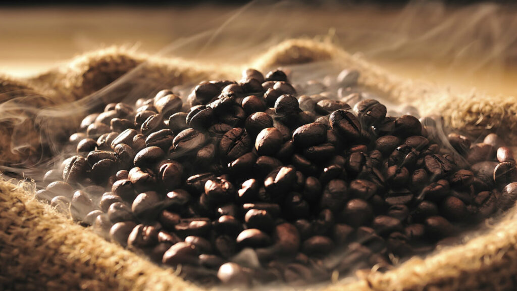 coffee beans with steam picture
